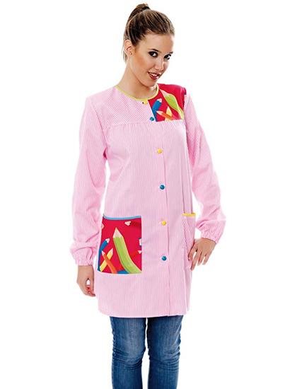 Bata profesora de manga larga con rayas rosas y estampado de lápices.