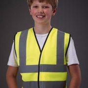 Chaleco de seguridad para niños con bandas reflectantes verticales y horizontales delante y detrás