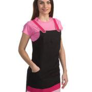 Pichi de señora negro con detalles fucsia y rosa palo