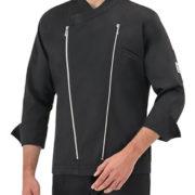 Chaqueta cocina negra, estilo chupa motera con cierres de cremallera en color plata cromada.