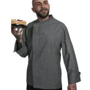 Chaqueta de cocina denim para señor de manga larga.