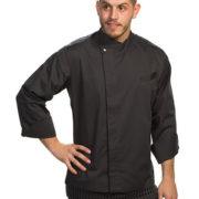 Chaqueta cocina para señor de manga larga gris.