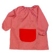 Bata escolar de gomas, modelo unisex cuadros con bolsillo central liso.