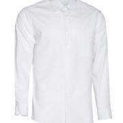 Camisa de señor manga larga de cuello camisero en color blanco.