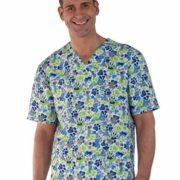 Blusón unisex manga corta estampado huellas en azul y verde.