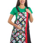 Pichi de señora negro combinado con cuadros de colores.