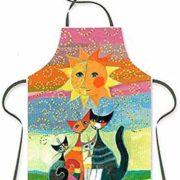 Delantal Rosina Watchmeister de colores con gatos y un gran sol.