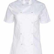 Chaqueta de cocina para señora transpirable y con doble fila de clecs color blanco.