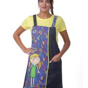 Pichi para profesora tejano combinado con el dibujo de una niña sobre fondo de números.