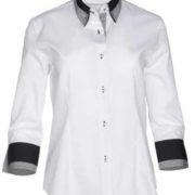 Camisa de señora blanca con cuello camisero doble.