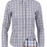 Camisa señora manga larga de cuello camisero con estampado cuadros en azul y marrón.
