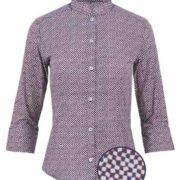 Camisa señora manga 3/4 de cuello mao con estampado de dibujos geométricos pequeños.