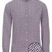 Camisa señor manga larga de cuello mao con estampado de dibujos geométricos pequeños.