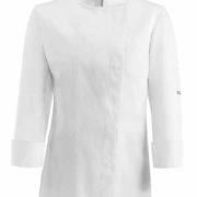 Chaqueta cocina entallada para señora de manga larga y espalda transpirable.