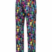 Pantalón cocina unisex con estampado de calaberas de colores.