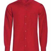 Camisa de señor manga larga de cuello mao con bolsillo superior en lado izquierdo.