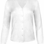 Blusa de señora de cuello pico y manga larga en color blanco.