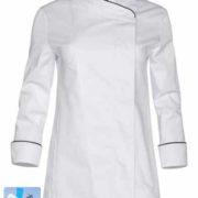 Chaqueta blanca de cocina para señora con tejido transpirable en la espalda.