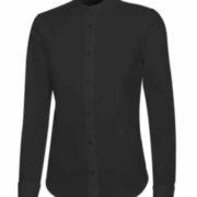 Camisa cuello mao stretch de manga larga para mujer con pinzas de entalle en pecho y espalda,